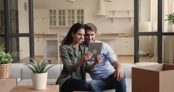 Couple use tablet device choose furniture search design interior ideas