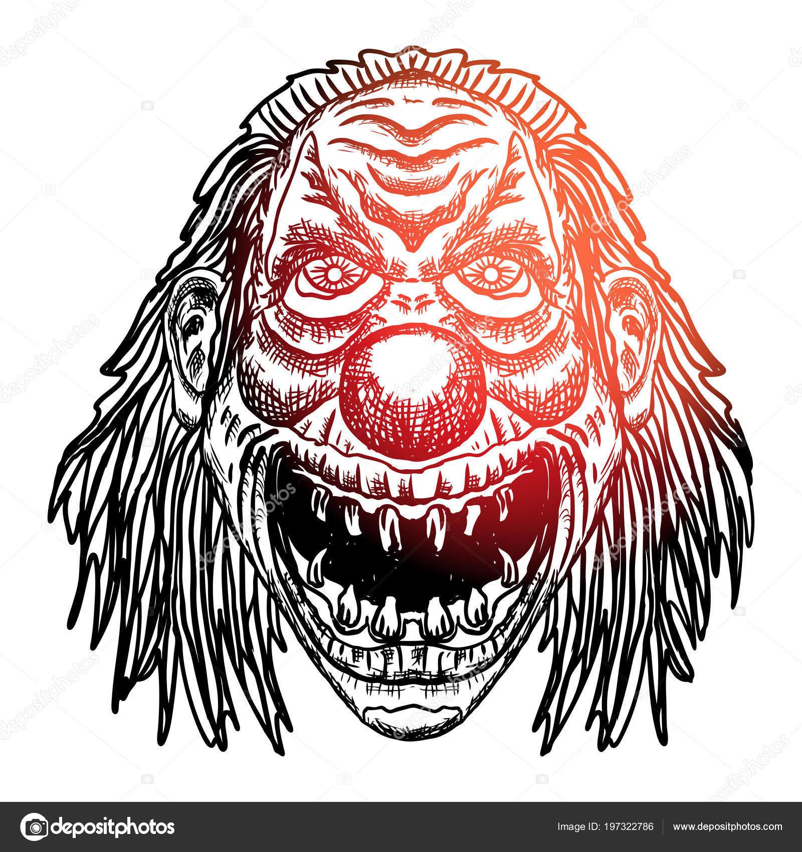 Blackwork Chair Adultes Tatouage Concept Tete Clown Diable Inspiree