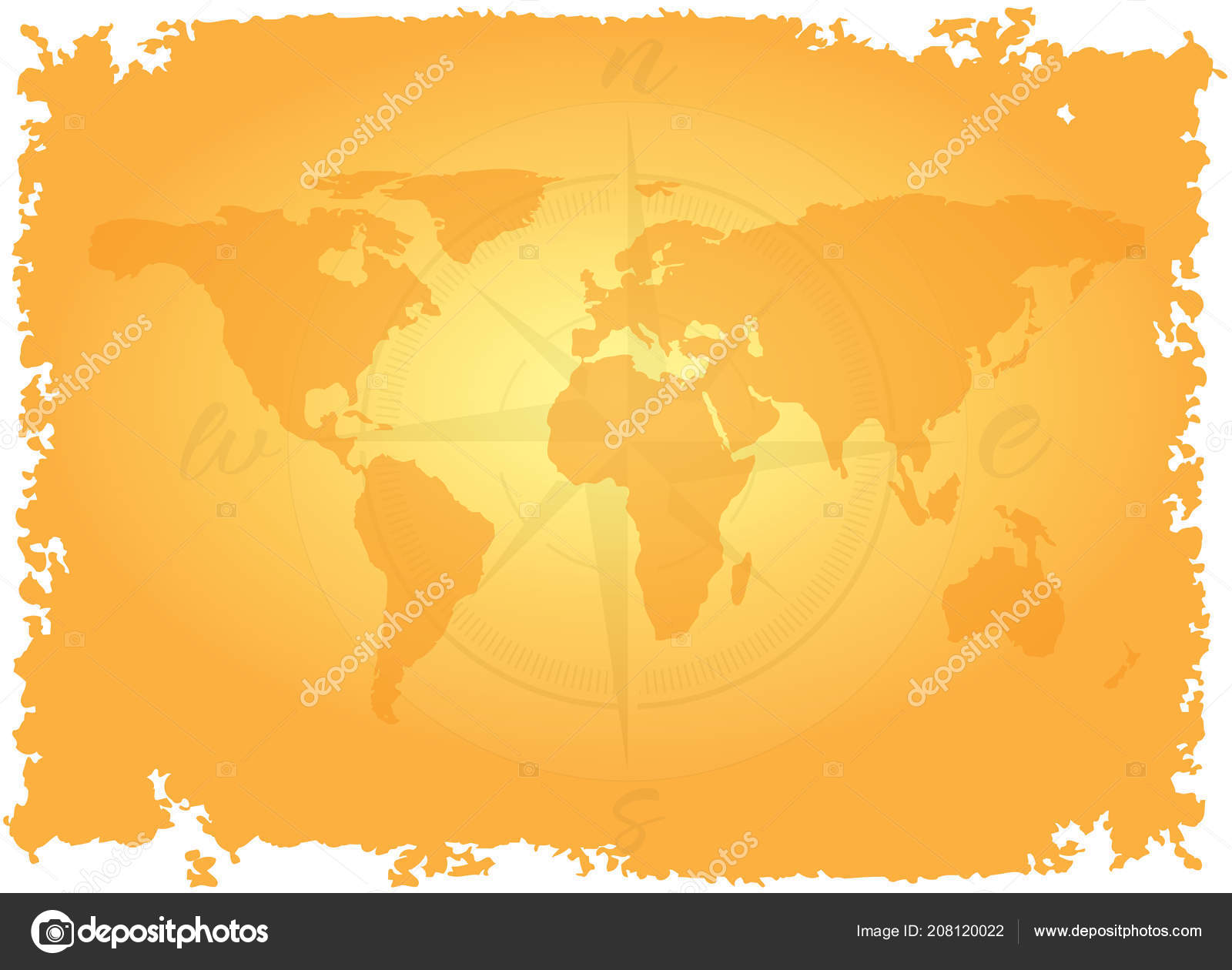 Map Of The World With Compass.Great Detailed Illustration World Map Vintage Style Imitation Old