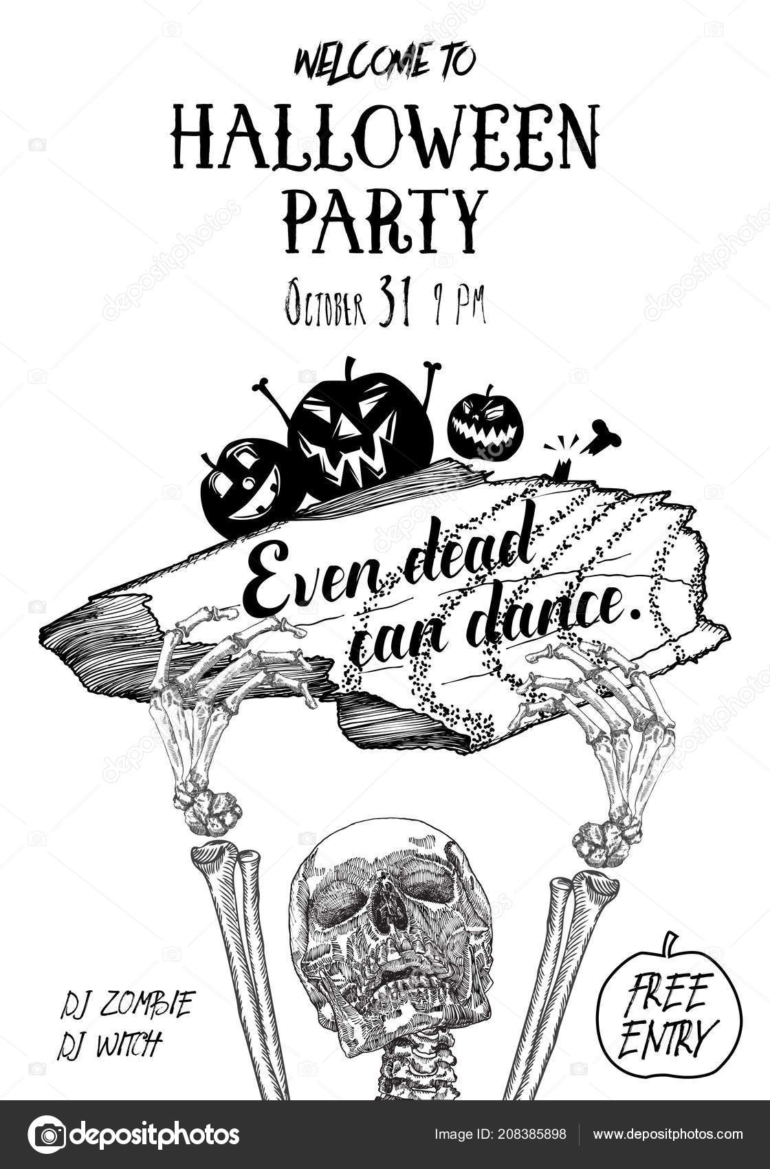 halloween party poster hand drawn invitation greeting card halloween