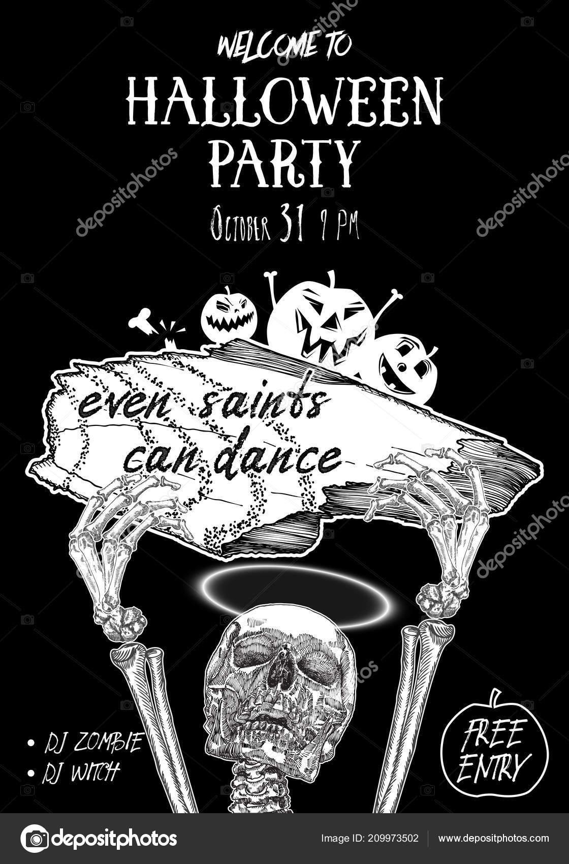 Cartel Fiesta Halloween Mano Dibuja Tarjetas Invitación Para
