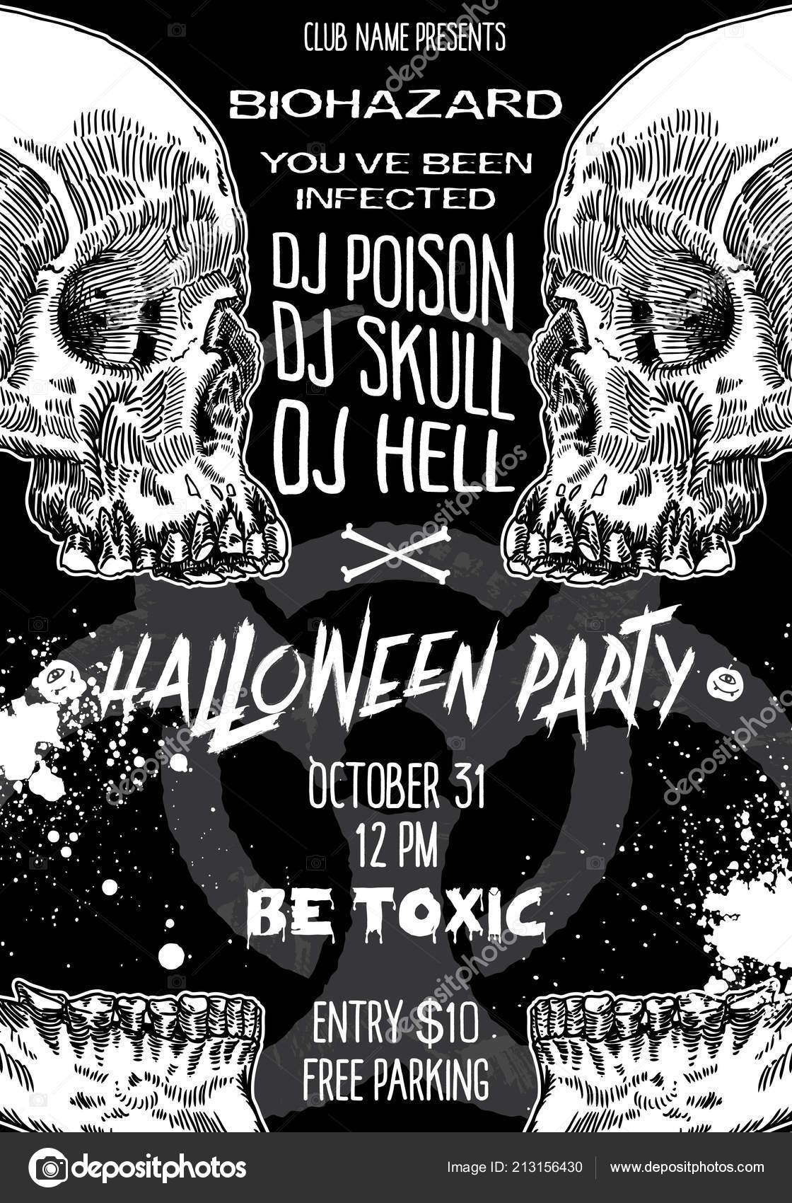 Stylowe Czarno Biały Plakat Zaproszenie Halloween Karty Tła