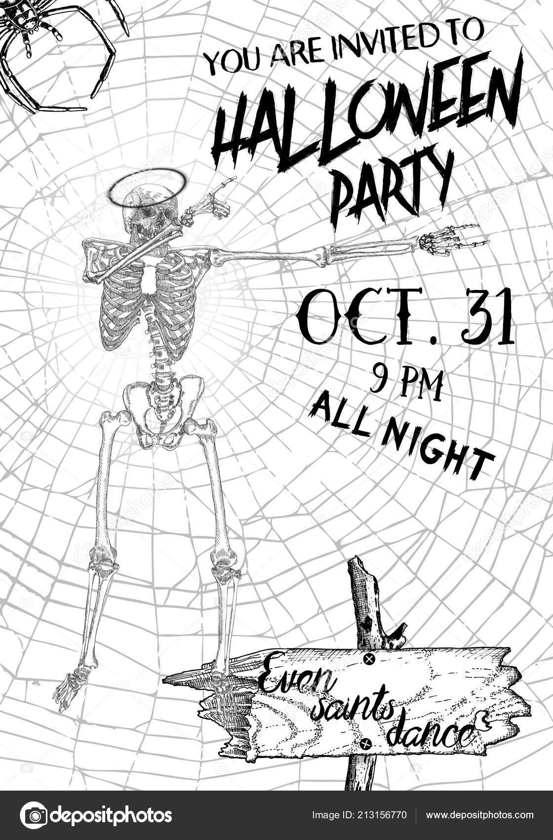 halloween vertical fond avec squelettes dansant dab modèle flyer une