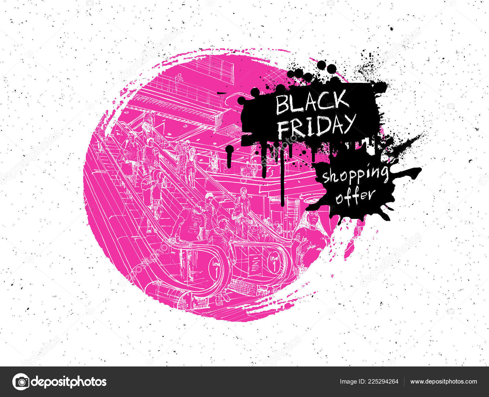 8fe4ab25e Black Friday Sale shopping scape discounts advert banner of black Friday  sale. Hand drawing of the people shop in the mall or giant store.