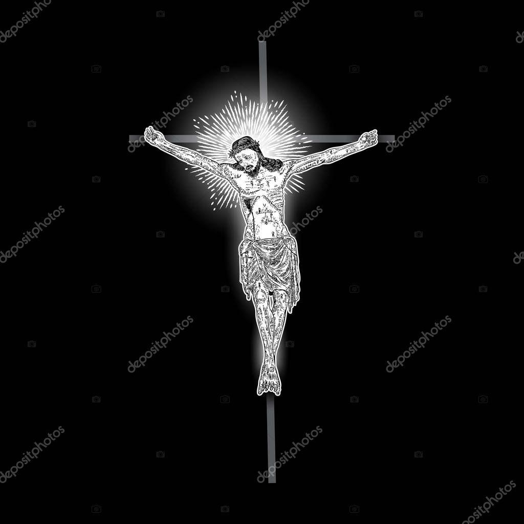 Jezus Chrystus Krzyżu Promieni światła Halo Belki Symbol