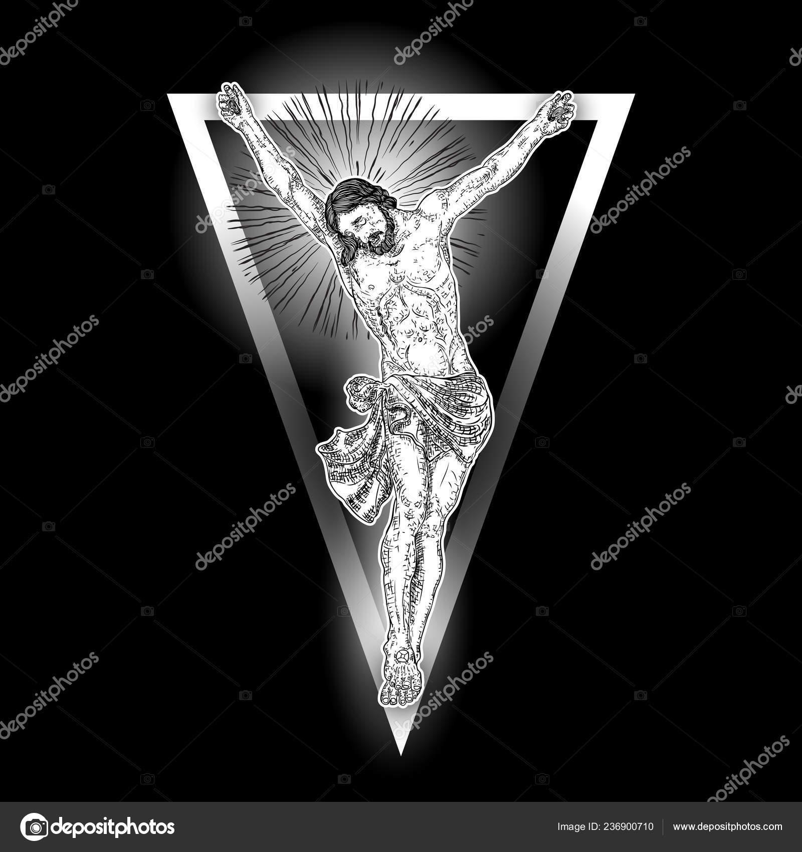 Jezus Christus Met Aanwijseffect Driehoek Tatoeage New Age