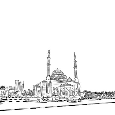 Hand drawn sketch of Mosque with skyscrapers in Dubai Marina