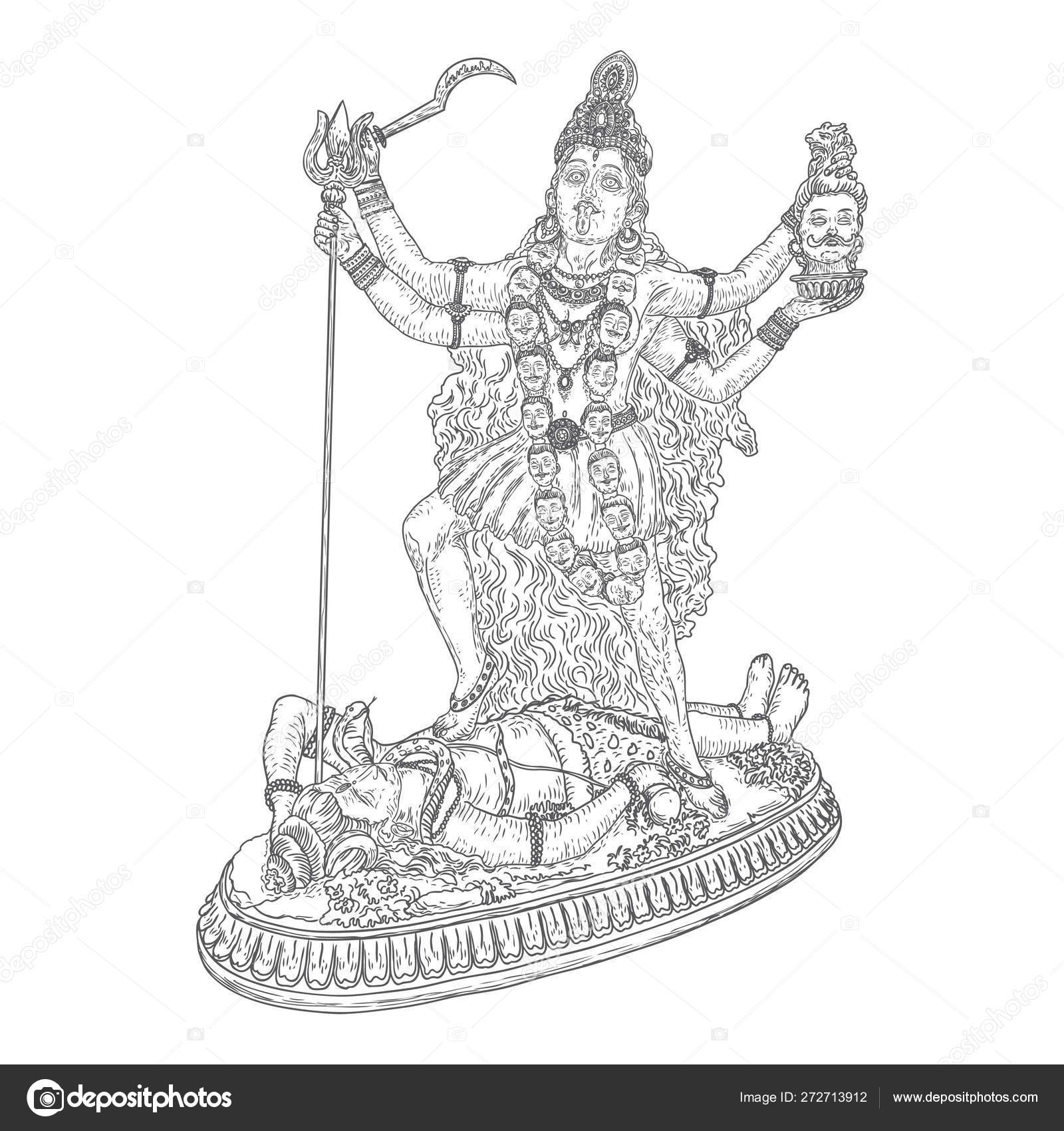 Indian hindi goddess Kali also known as the Dark Mother
