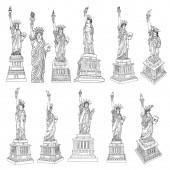 Americká socha svobody nastavila kresbu. USA New York City slavné turistické památky. Plakát nebo letáky plastika ilustrační prvek. Ručně kreslené logo amerického symbolu pro prezentace. Vektor.