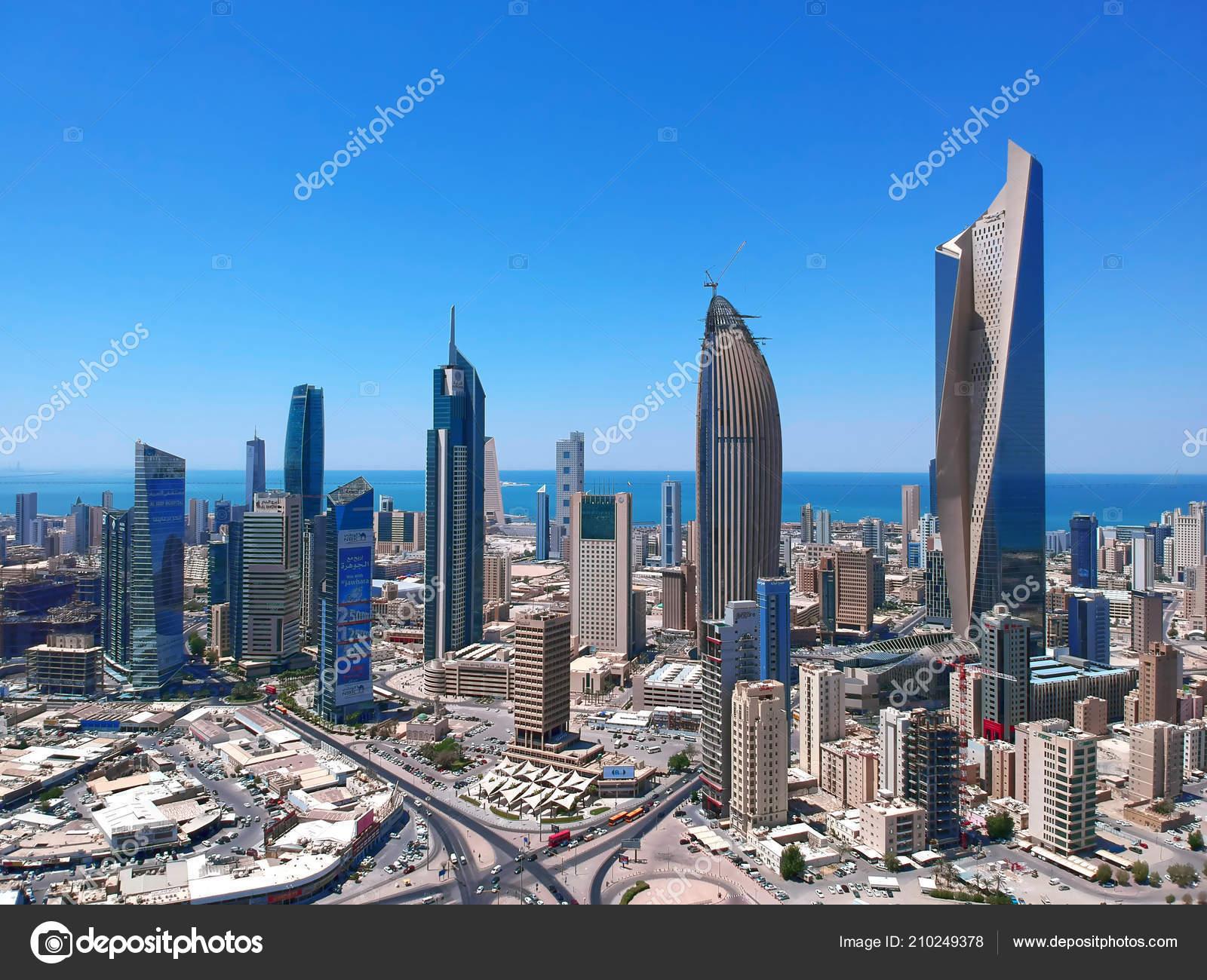 Beautiful Aerial Panorama Kuwait City Landmark Skyscrapers – Stock