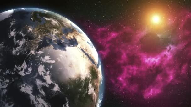 Se země otáčí, otáčející svět plný rotace - realistické planety otáčení 360 stupňů. Prvky tohoto obrázku jsou podle Nasa.