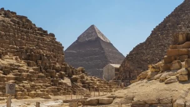 Zoom In of Stone Pyramid -The Great Pyramids of Giza - Egypt