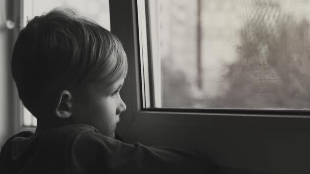 Child Sad Lonely Looking Window Child Depressed Black White Shot Stock Video C Unitxi 215965554