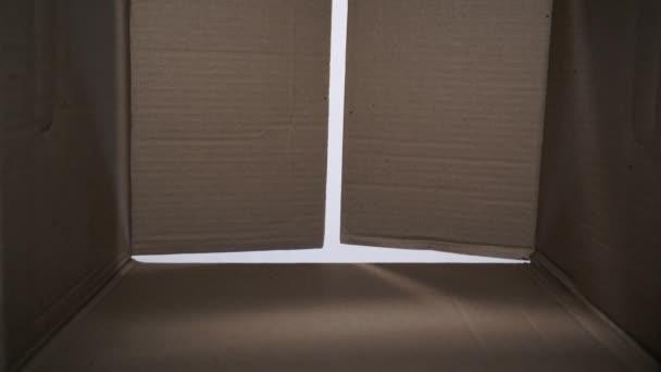 Pohled z uvnitř lepenkové krabice malý blonďák Papírová krabička, otevření