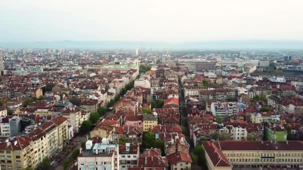 Aerial view of downtown Sofia Bulgaria with amazing red roofs