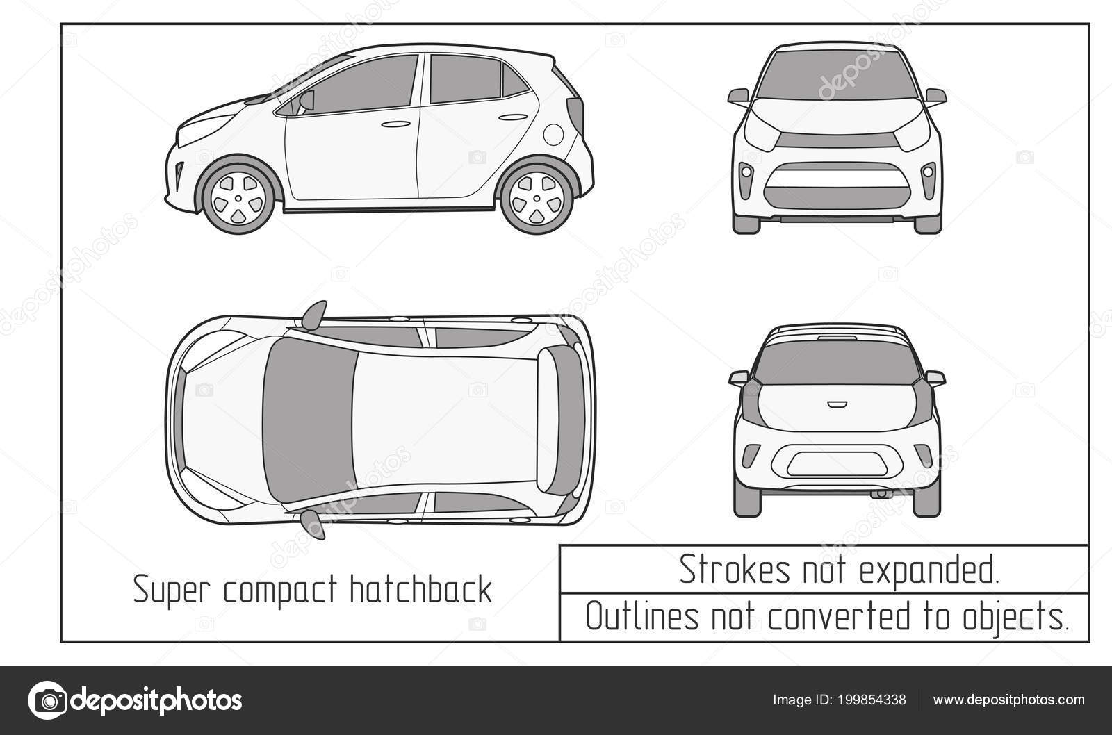 Car Vector Template On White Background Hatchback Isolated All