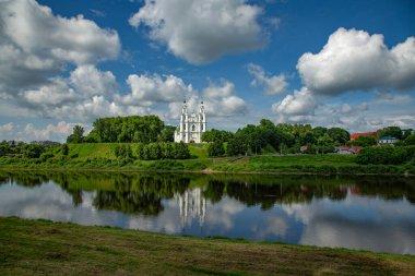 View from the Zapadnaya Dvina River to St. Sophia Cathedral in Polotsk. Belarus.