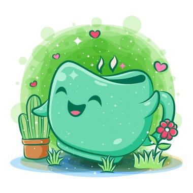 Smiling cute kawaii cartoon of cup character icon