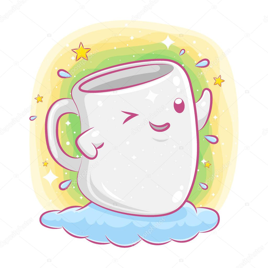 Cute cup character on the cloud of illustration icon