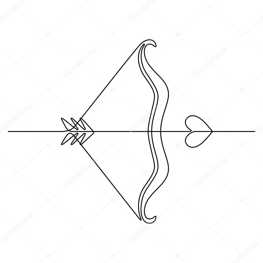 Continuous line drawing. Cupid's bow. Love. Black isolated on white background. Hand drawn vector illustration. icon
