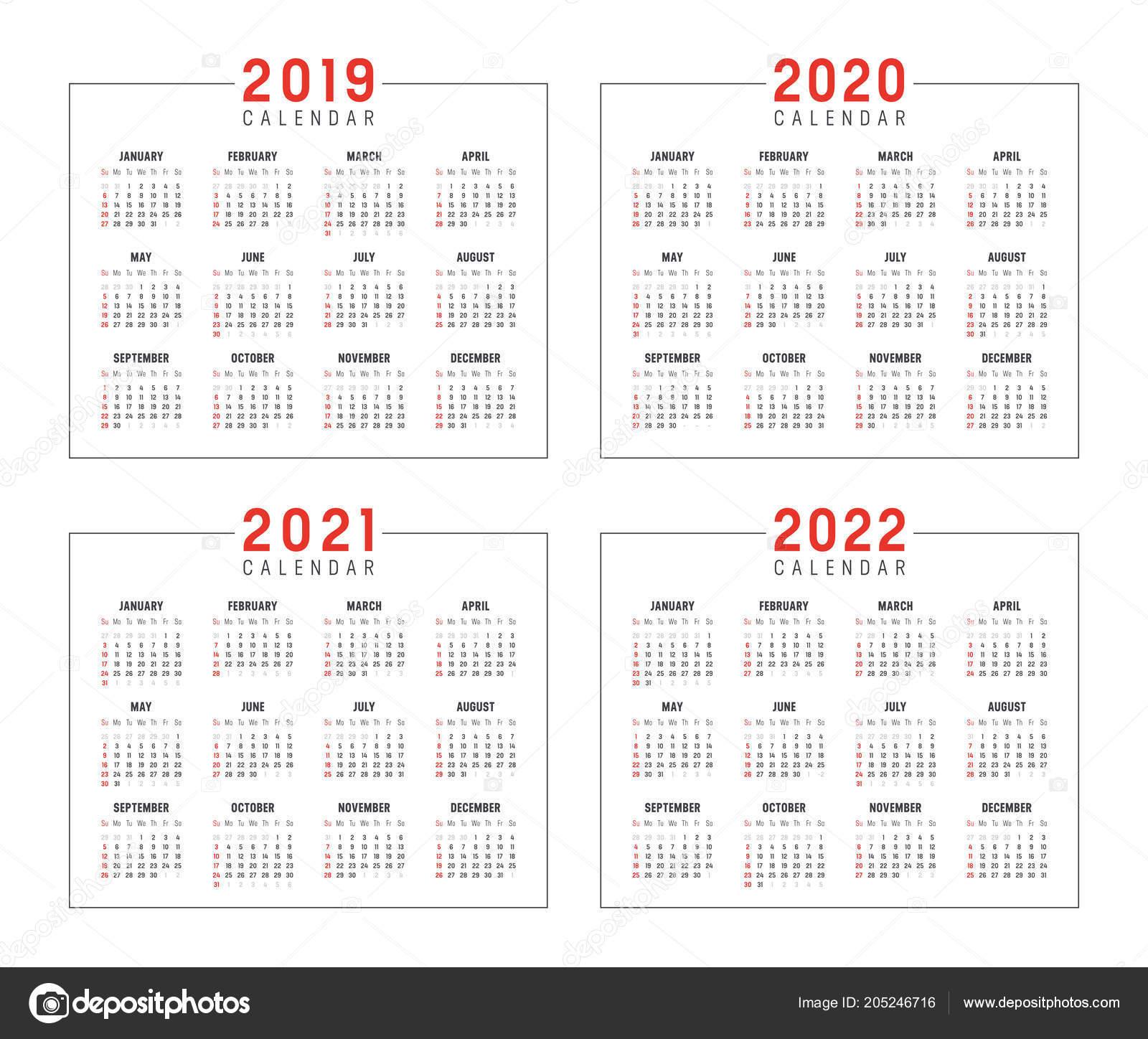 set minimalist calendars years 2019 2020 2021 2022 weeks start