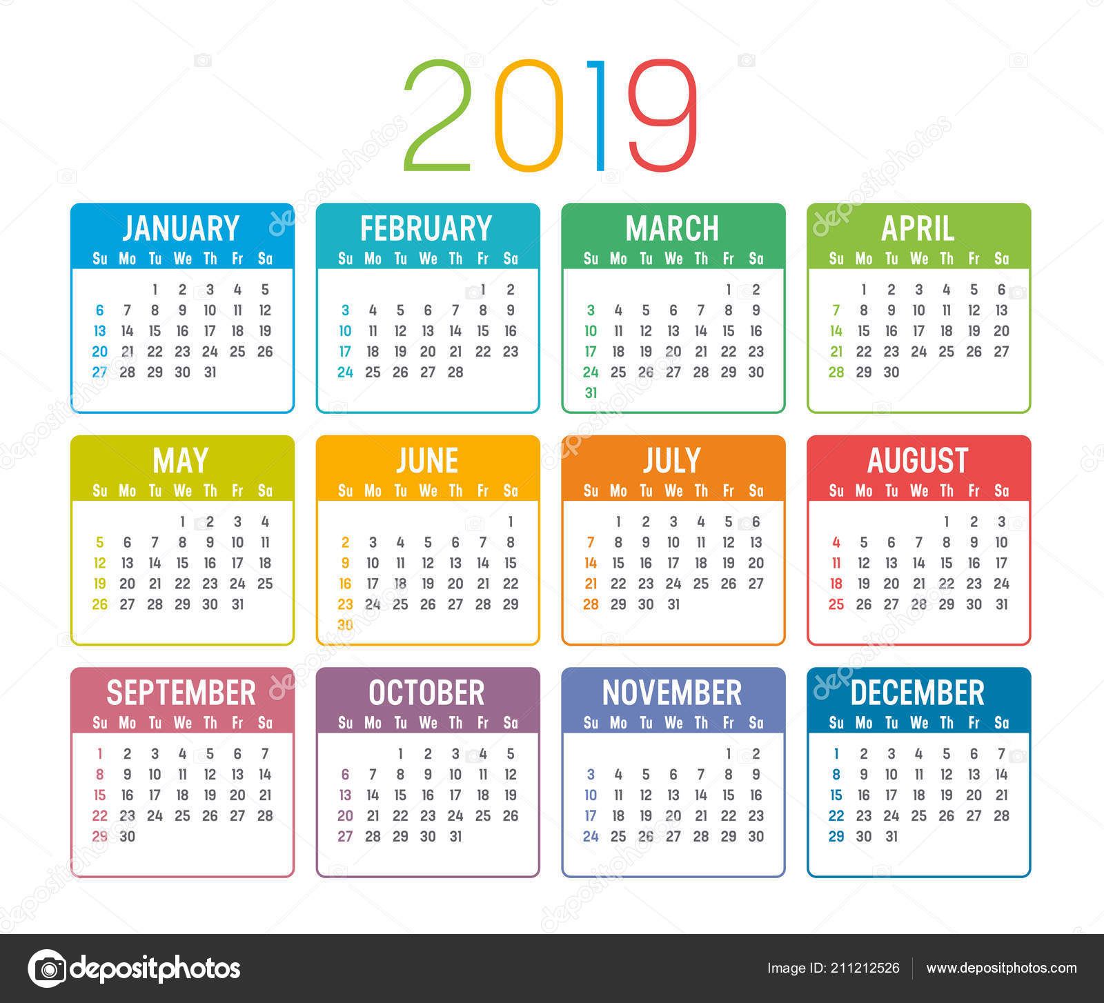 Colorful Year 2019 Calendar Isolated White Background ...