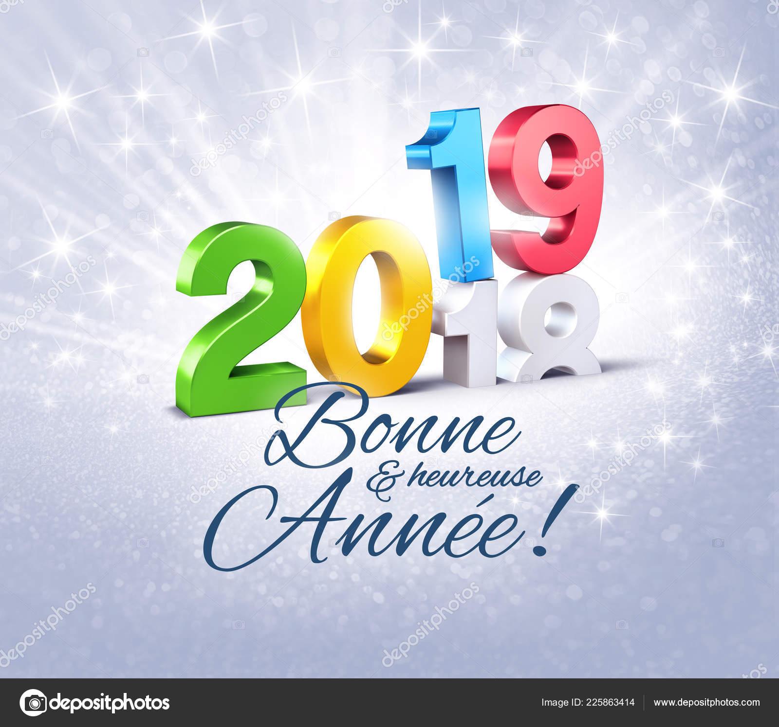 Kleurrijk Nieuwjaar Datum Nummer 2019 Groeten Het Frans Boven Het