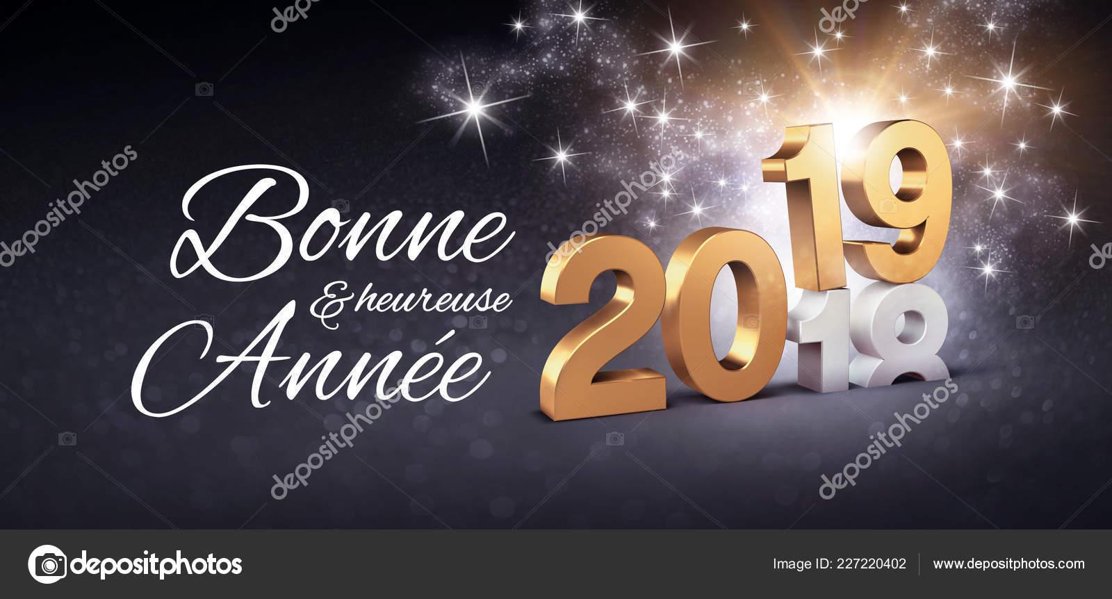 Groeten Frans Nieuwjaar Getal Voor Een Datum 2019 Gekleurde Goud