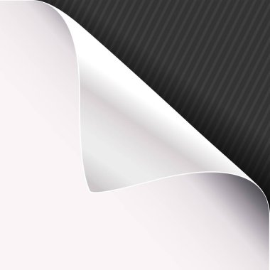 Curled corner of white paper on a black right top angle background. Vector illustration.