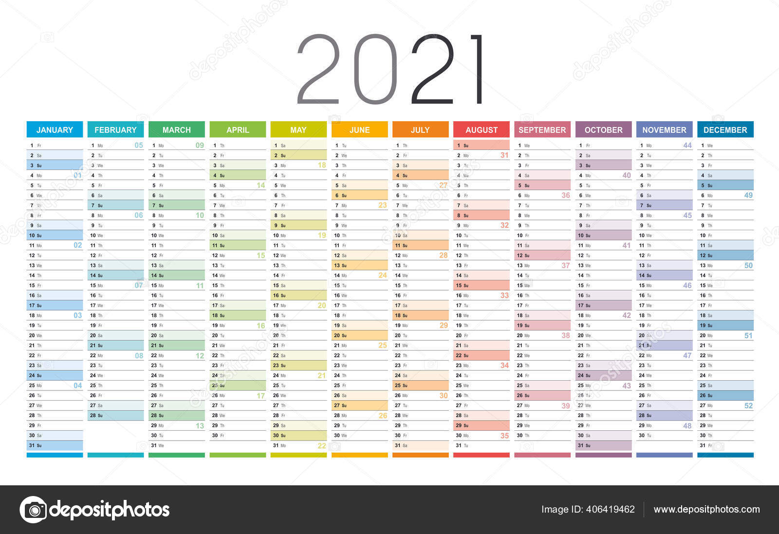 Year 20 Colorful Wall Calendar Weeks Numbers White Background ...