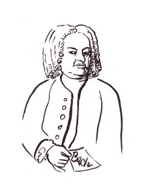 Bach sketched portrait with little note in his hand