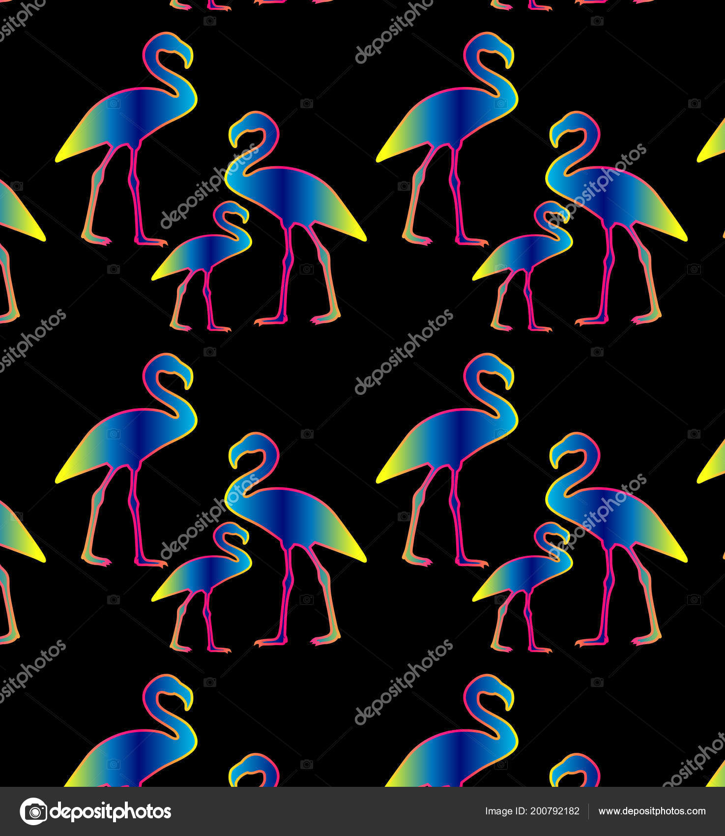 Neon Flamingo Pattern Black Background Exotic Bird Flamingo