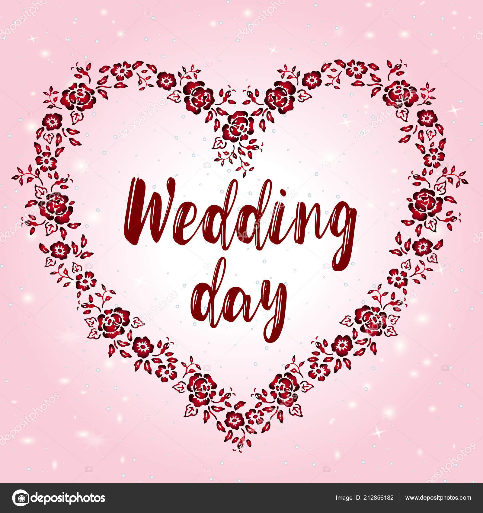 Flat Wedding Invitation Floral Frame Beautiful Layout Romantic Day ...