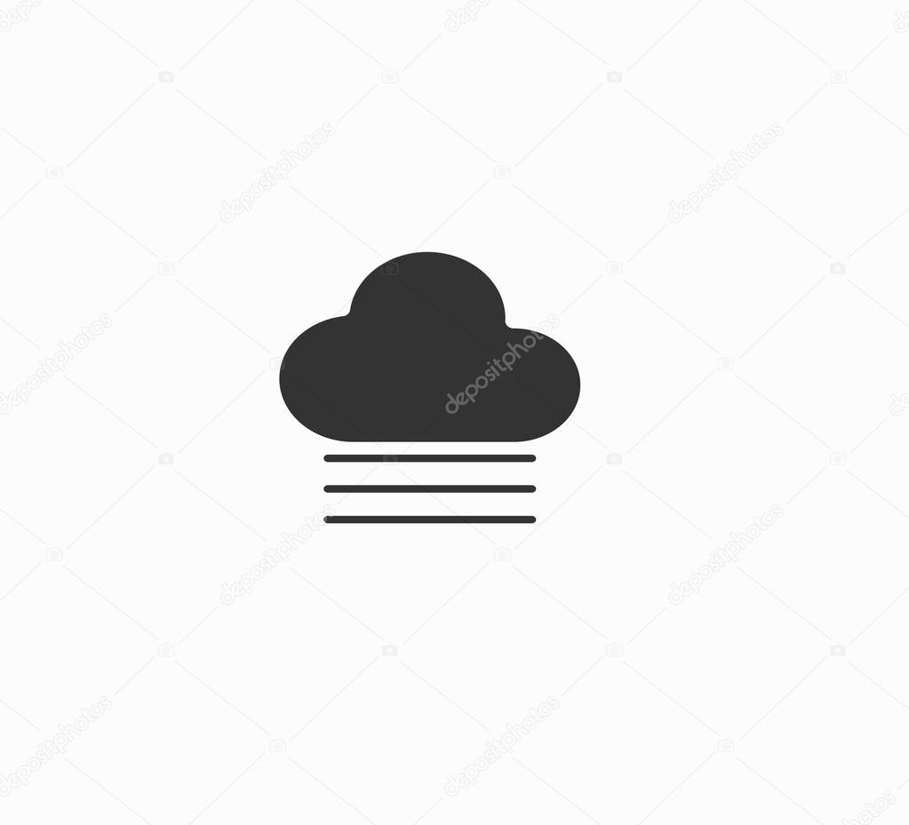 Flat design vector weather icons: cloud and fog Isolated on white background. weather forecast icon close-up