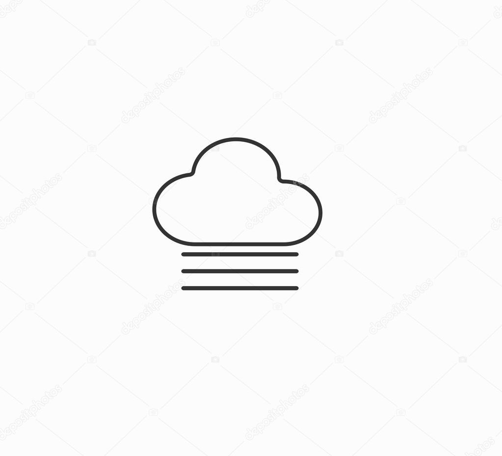 Vector weather forecast icon - cloud and fog. Foggy weather.