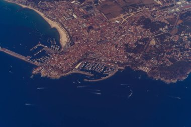 Coast of Spain. Top view of the Mediterranean Sea and the coast of Spain