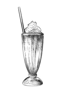 Vector engraved style illustration for posters, decoration and print. Hand drawn sketch of milkshake in monochrome isolated on white background. Detailed vintage woodcut style drawing.