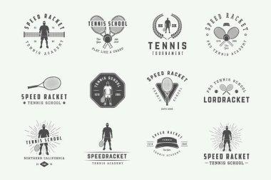Set of vintage tennis logos, emblems, badges, labels and design elements. Vector illustration. Monochrome Graphic Art.