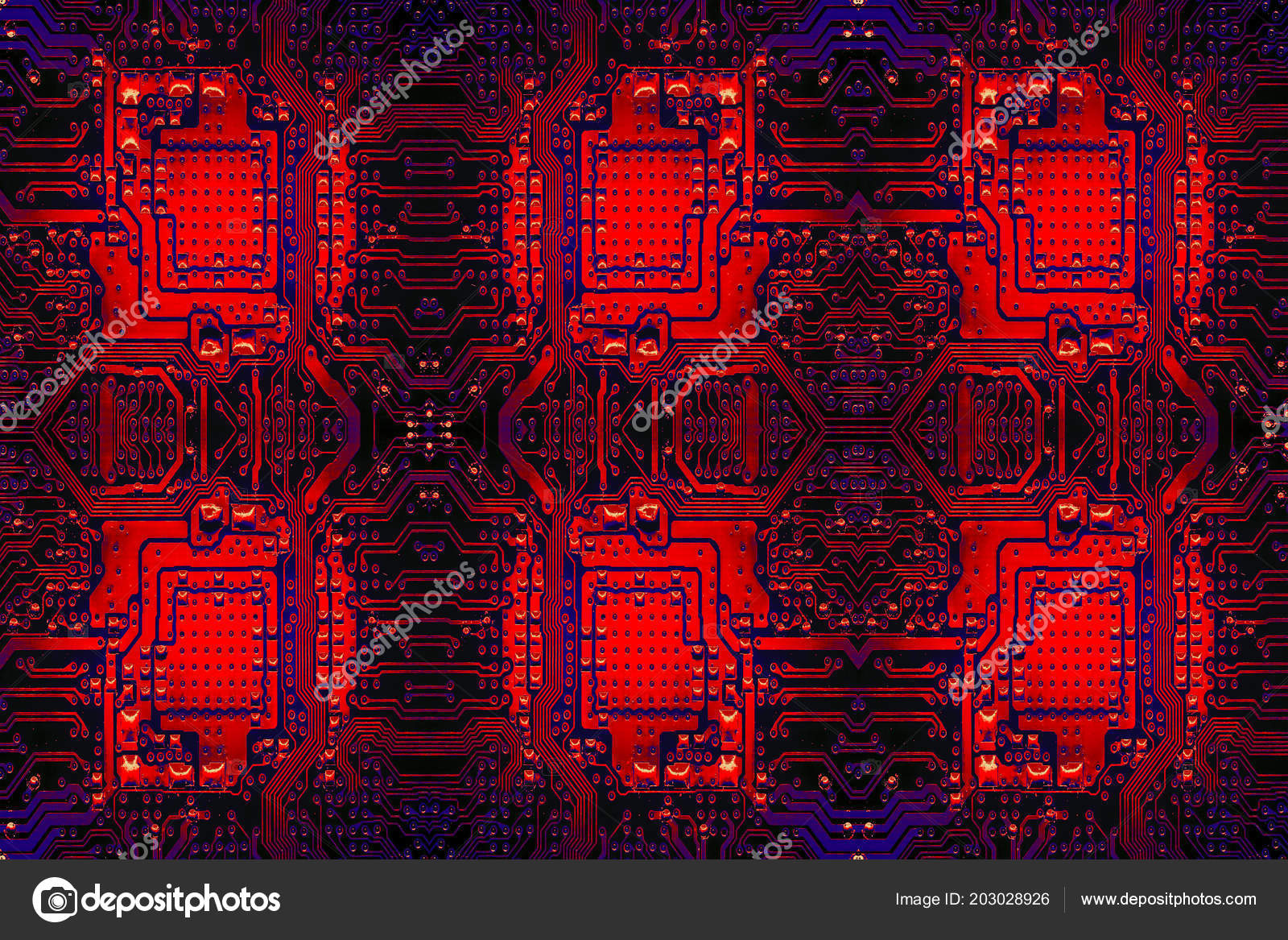 Closeup Electronic Circuit Board Background Stock Photo