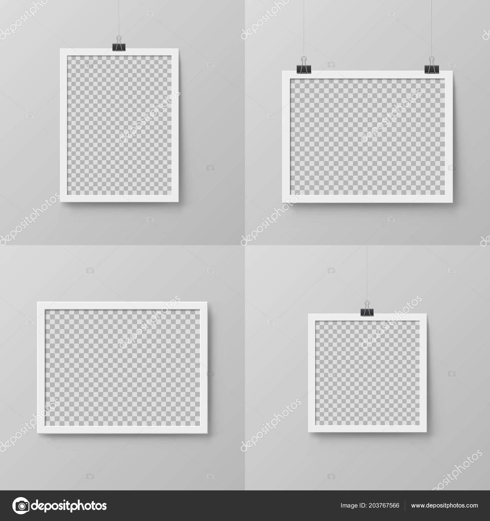 Vertical And Horizontal Realistic Photo Frames Stock Vector