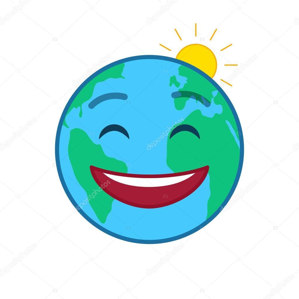 Happy world globe isolated emoticon