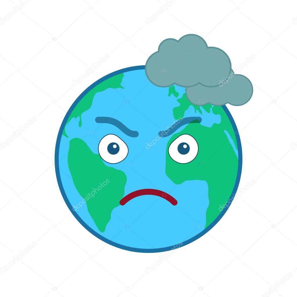 Frowning world globe isolated emoticon