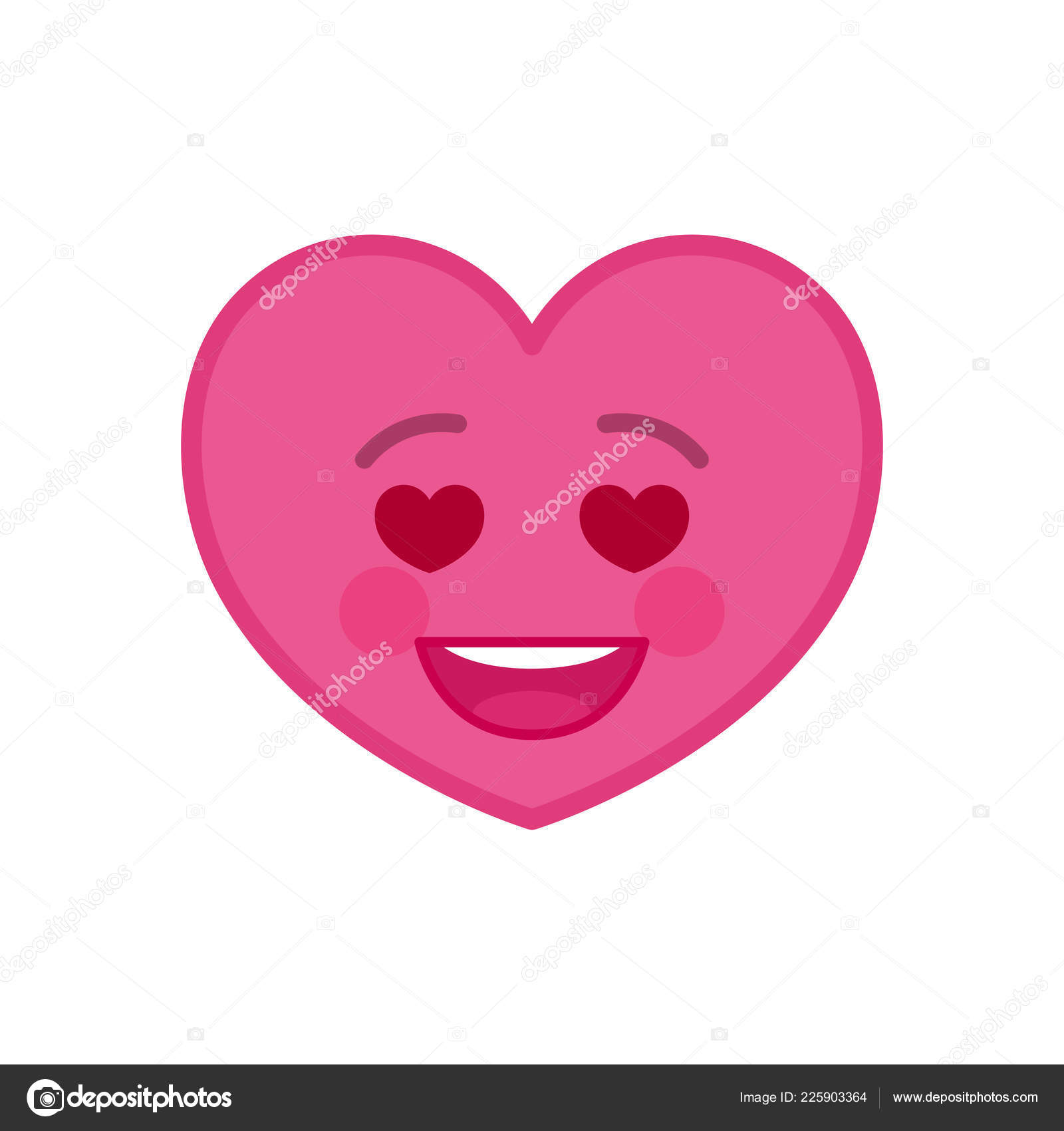 Falling In Love Heart Shaped Funny Emoticon Icon Stock Vector