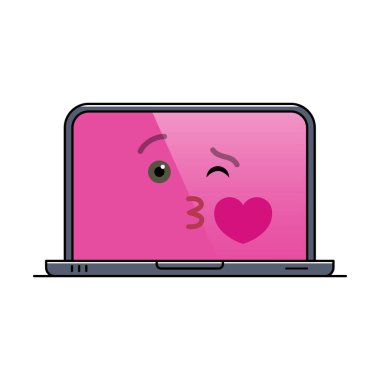 Kissing laptop computer isolated emoticon