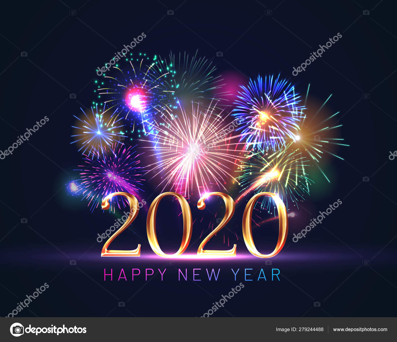 Happy new year 2020 greeting card with fireworks — Stock ...