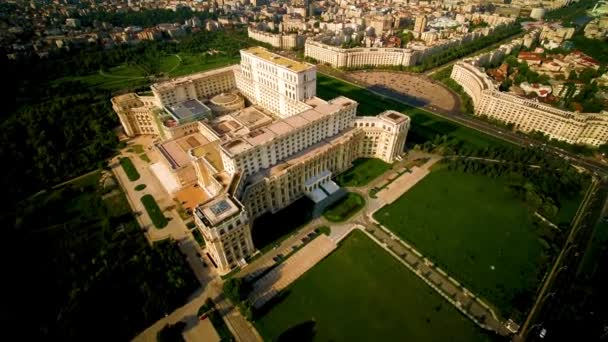 Drone Shot Of The Palace Of The Parliament in Bucharest, Romania. This is the second largest administrative building in the world, and also the third largest building in the world.