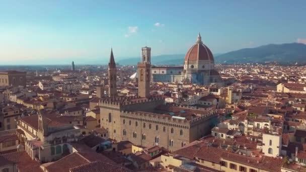 Aerial closeup view of Cathedral Santa Maria del Fiore in Florence, Toszkána, Olaszország.