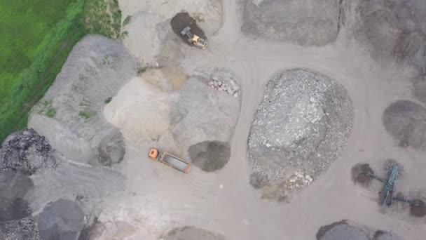 Excavator loader with backhoe works.Aerial View