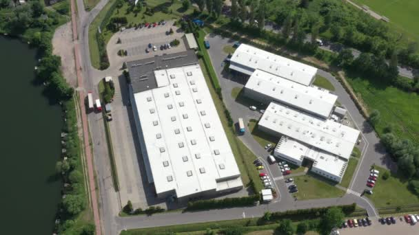 Big Distribution Warehouse Gates Loads Trucks Reversing Loading Dock Aerial
