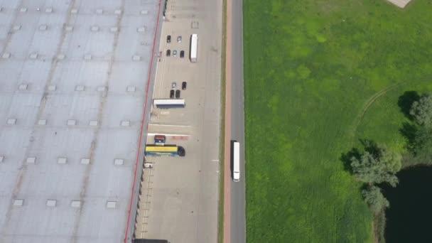 Truck Driving Logistics Center Aerial Shot Industrial Warehouse Loading Dock